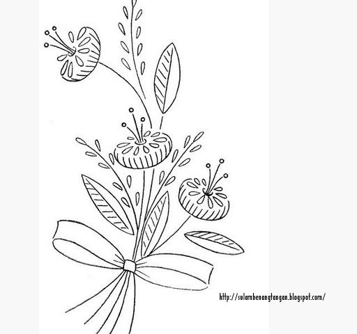 Contoh Pola Untuk Bunga Sulam Sulaman Bunga Sulaman Cara Menggambar