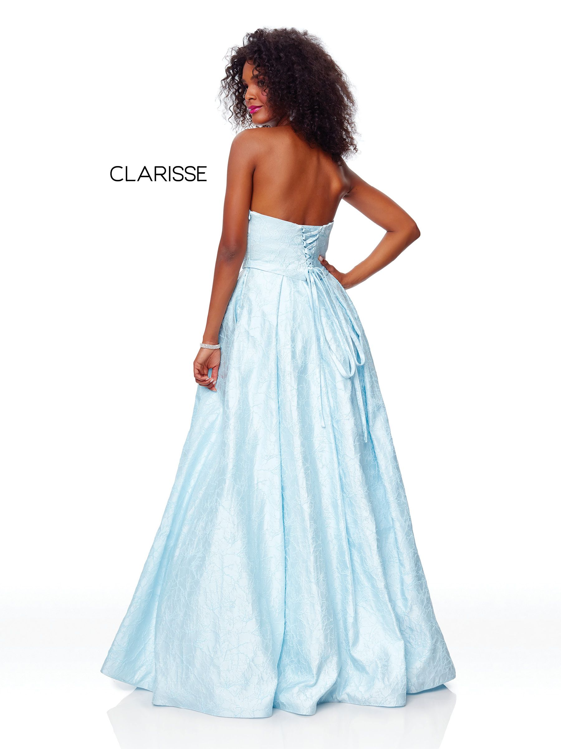 08acf083a3 3705 - Strapless baby blue ball gown with a corset back