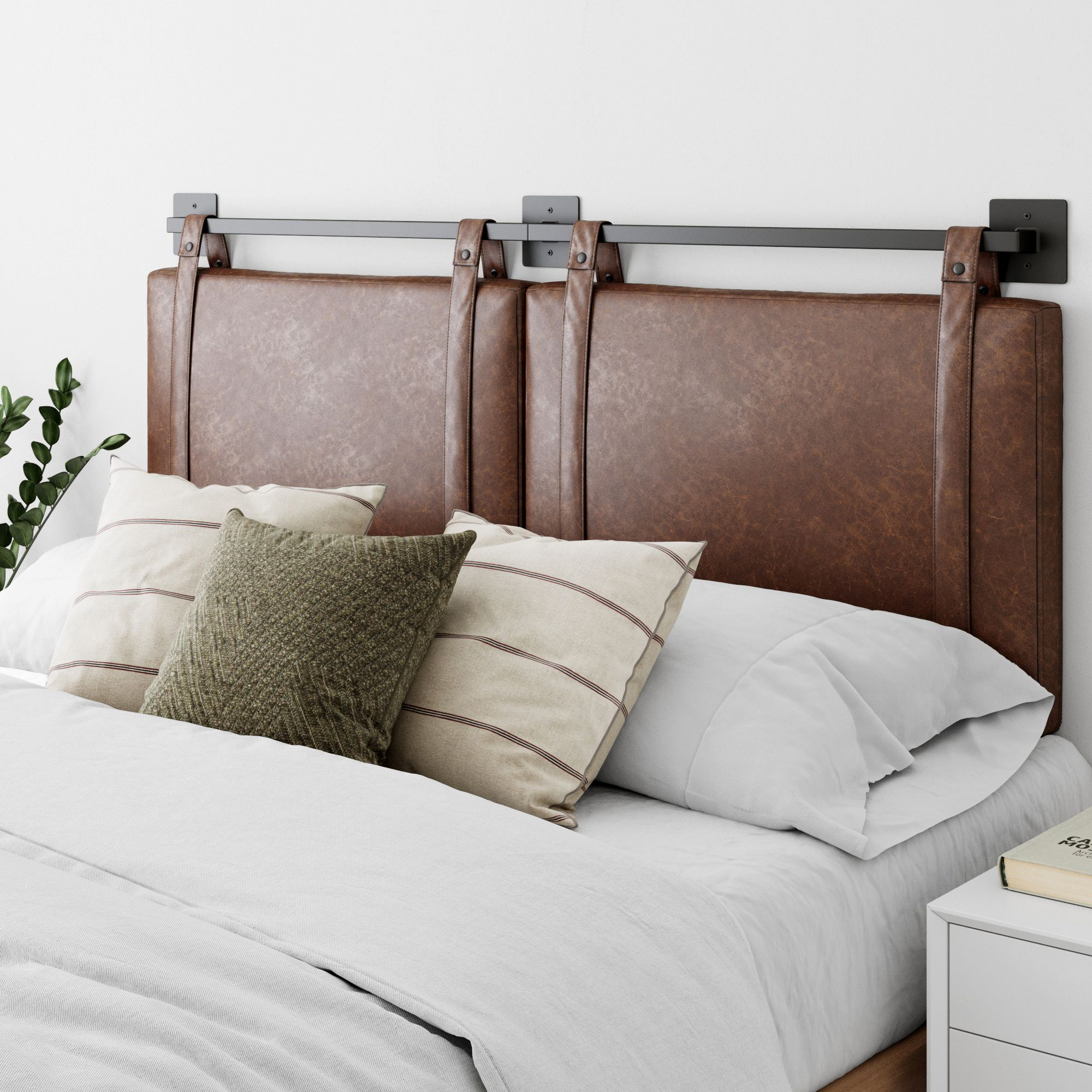 Nathan James Harlow King Wall Mount Headboard Faux Leather Upholstered Headboard Adjustable Height Vintage Brown Pu Leather Straps With Black Matte Metal Rail In 2020 Upholstered Headboard Gray Upholstered Headboard Wall