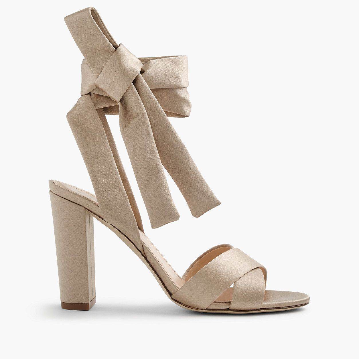 Wedding dress flats  JCrew Womens Satin Sandals With Ankle Wraps Size  M  shoe