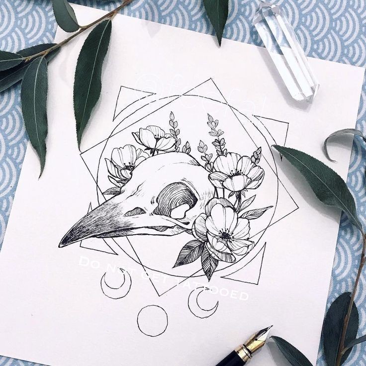 "olhifp okula on Instagram: ""tattoo commission of a raven skull"" that w"