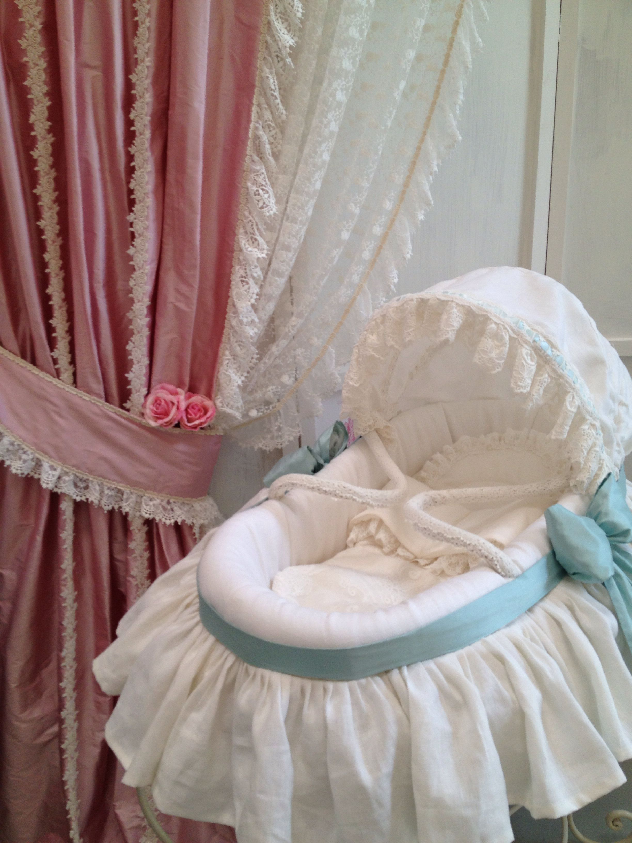Baby Bassinet Linen Moses Basket Covered With Off White Linen And A Perfect