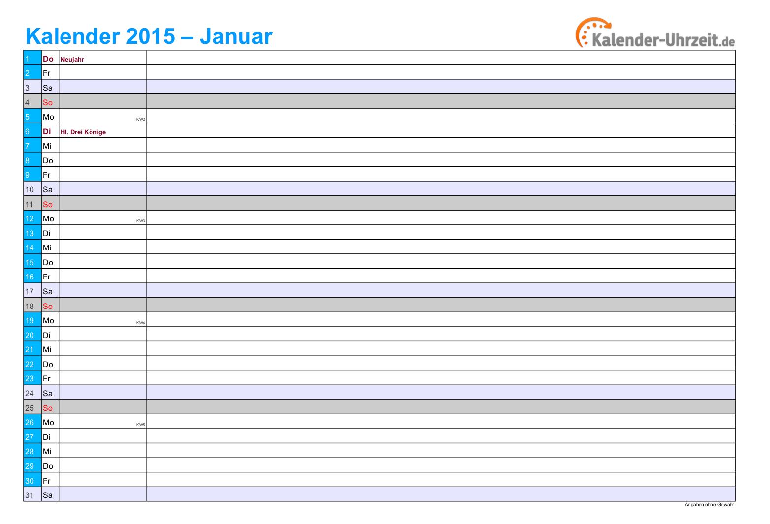 Kalender 2015 in BLAU - A4, Querformat, 12seitiger Monatskalender ...