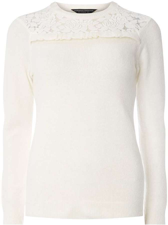 Dorothy Perkins Ivory Sequin Lace Yoke Jumper
