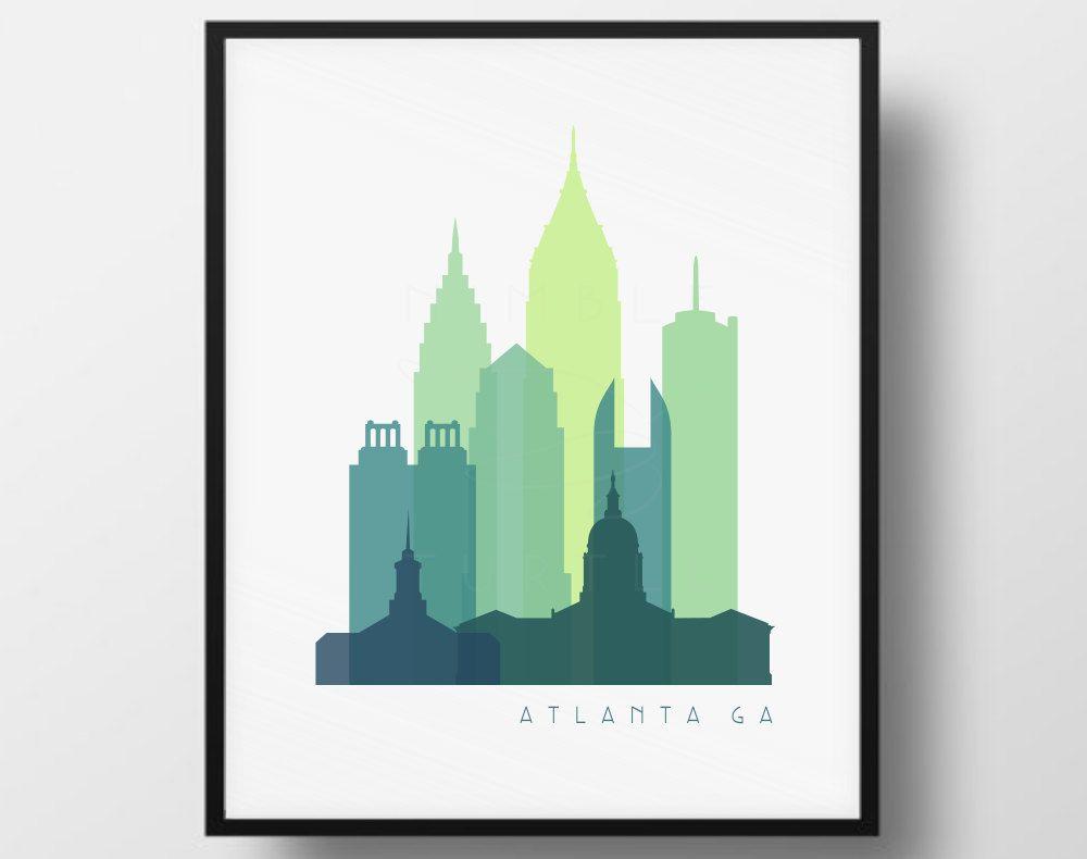 Atlanta Skyline Transparent Monochrome Color Digital Image ...