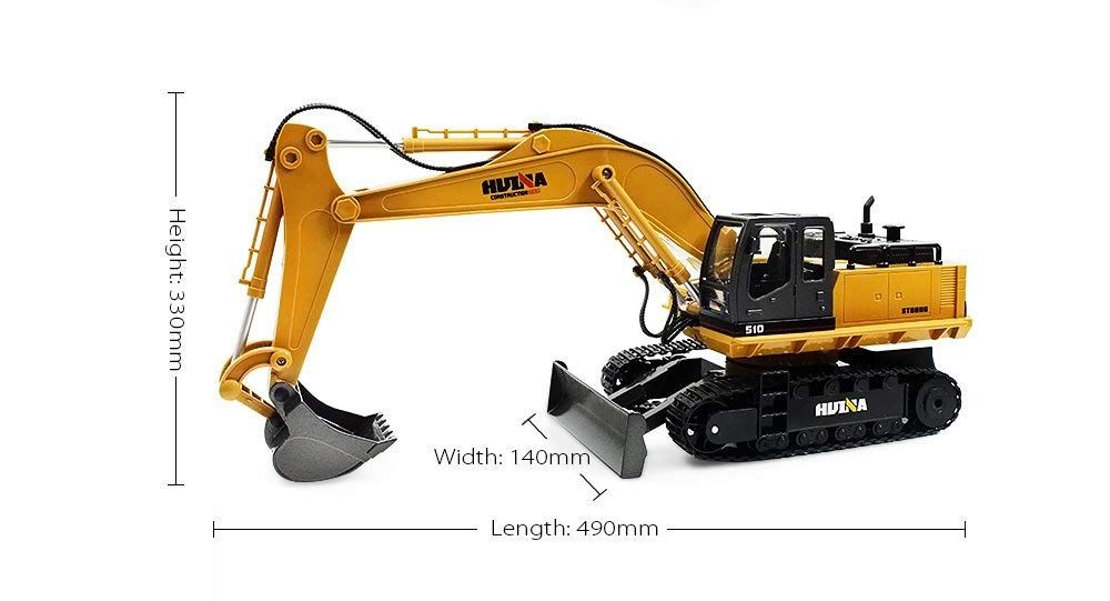 Rc Alloy Excavator Toy Remote Control 1 16 Scale 2 4ghz 11ch Rtr Mechanical Sound 680 Degree Birthday Gifts For Kids Excavator Toy Christmas Birthday Gifts