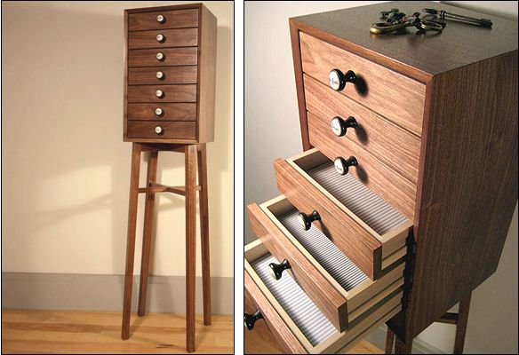 7 Drawer Miniature Chest With Vintage Pump Organ Drawer Pulls And