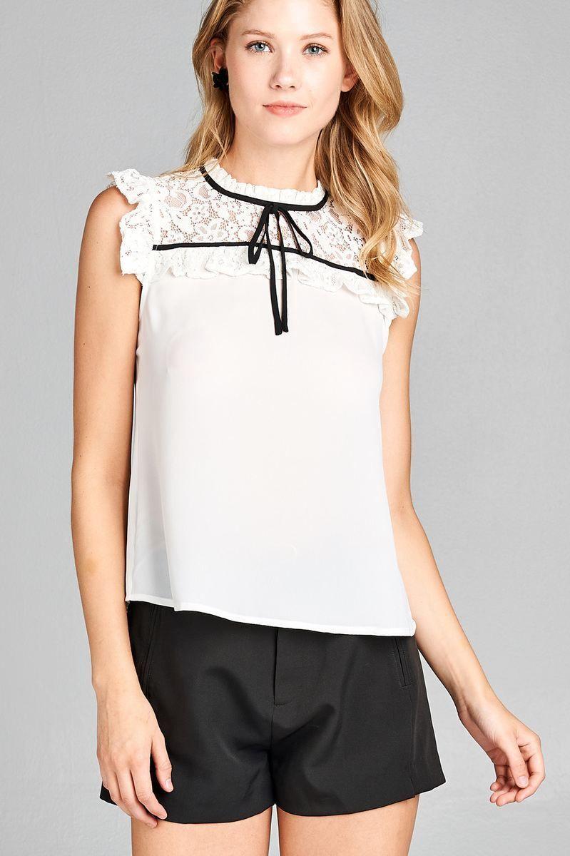 17f05f21e7c51b Labour Of Love Lace Top- White. Ladies fashion ruffle sleeve ...