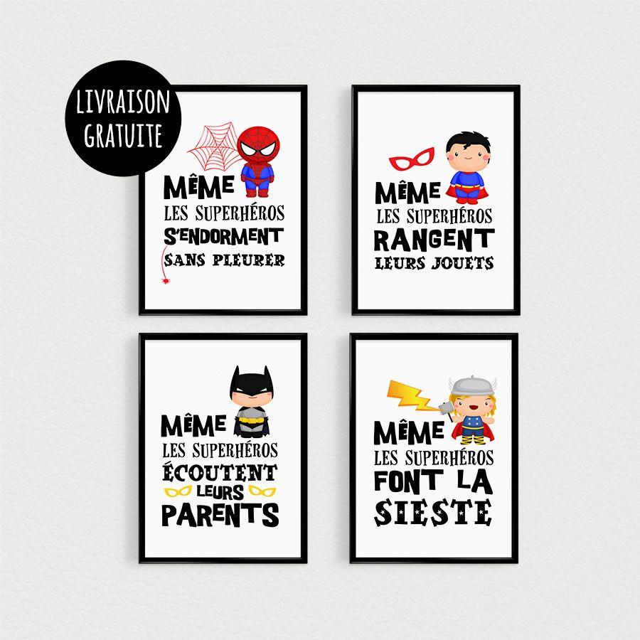 Promo lot de 4 posters citations super h ros pour enfant dans une chambre ou d coration de - Deco chambre super heros ...