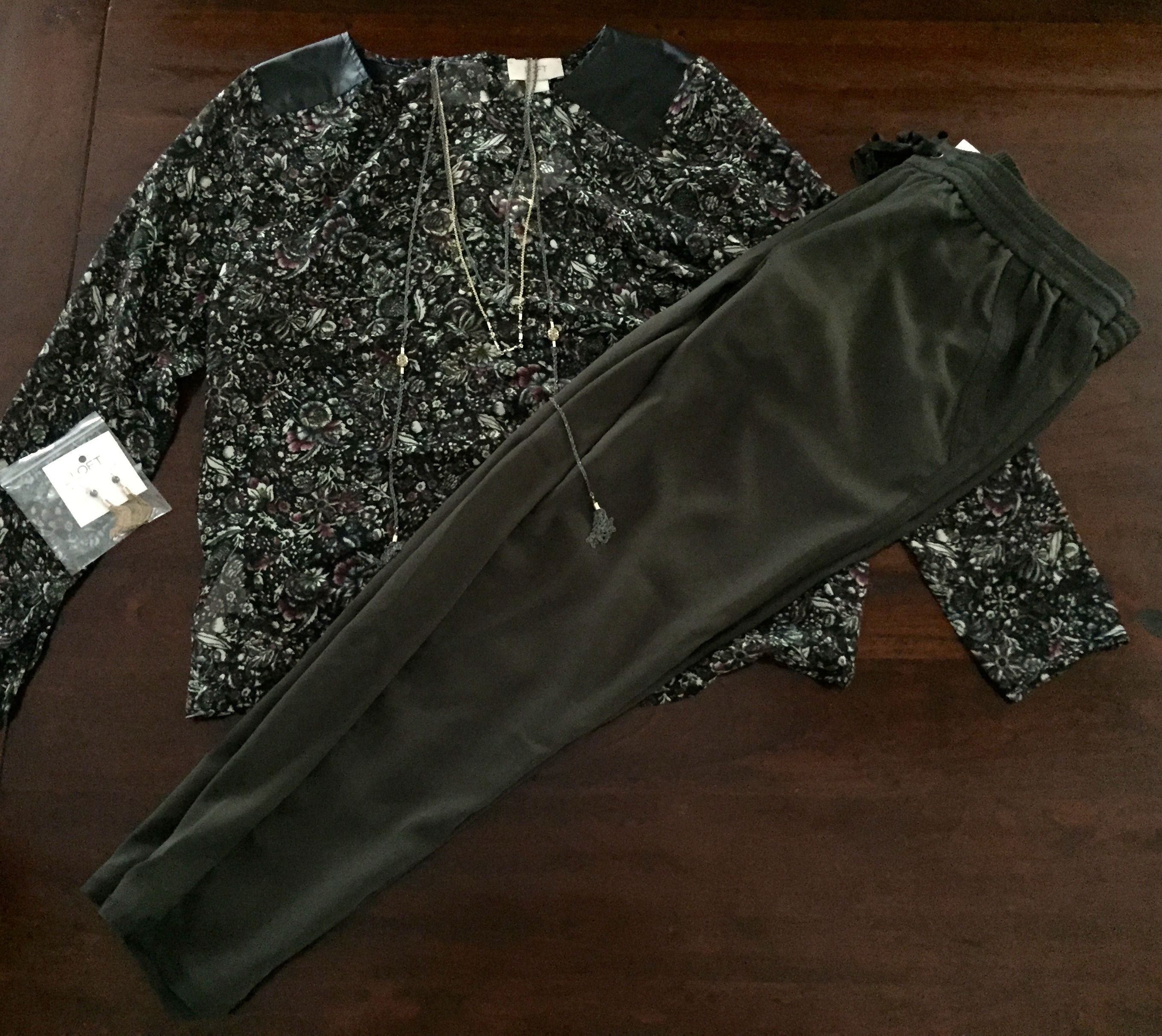 Floral Top w/ Leather Accent - The Loft. Olive Green Soft Pants - The Loft. Necklace & Earrings - The Loft.