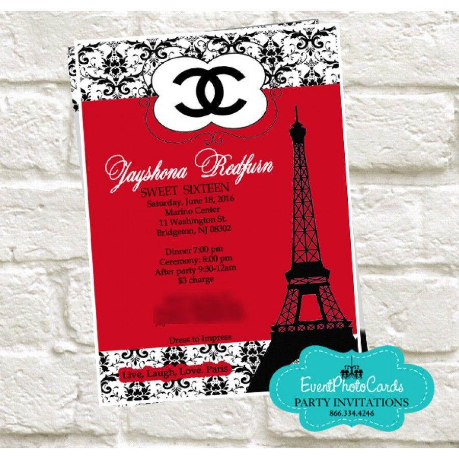 Paris Chanel Quinceanera Invites - Red & Black | Paris Quinceanera ...