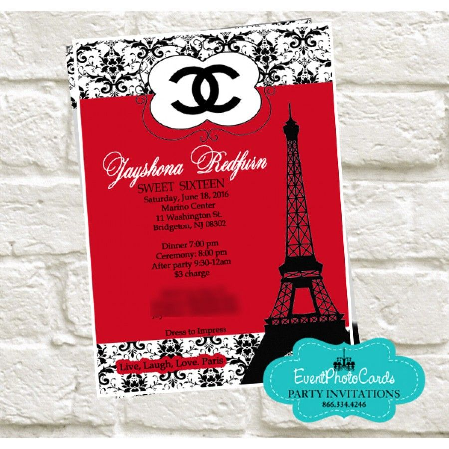 Paris Chanel Quinceanera Invites - Red & Black | Sweet 16 countdown ...