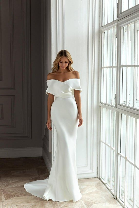 Satin Mermaid Wedding Dress Off the shoulder with