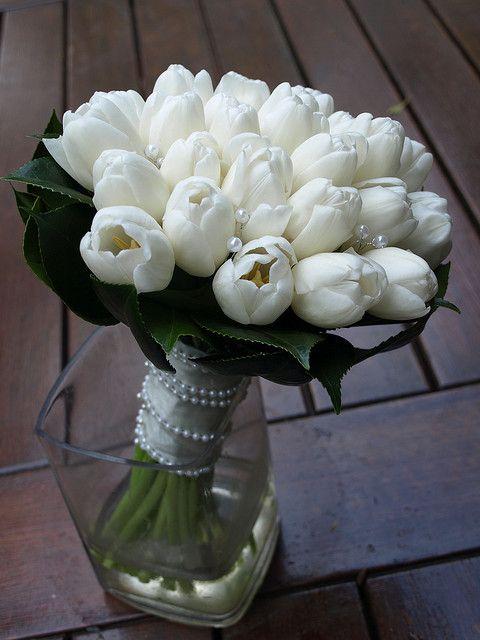 White Tulip Bridal Bouquet Tulip Bridal Bouquet White Wedding Bouquets Bridal Bouquet