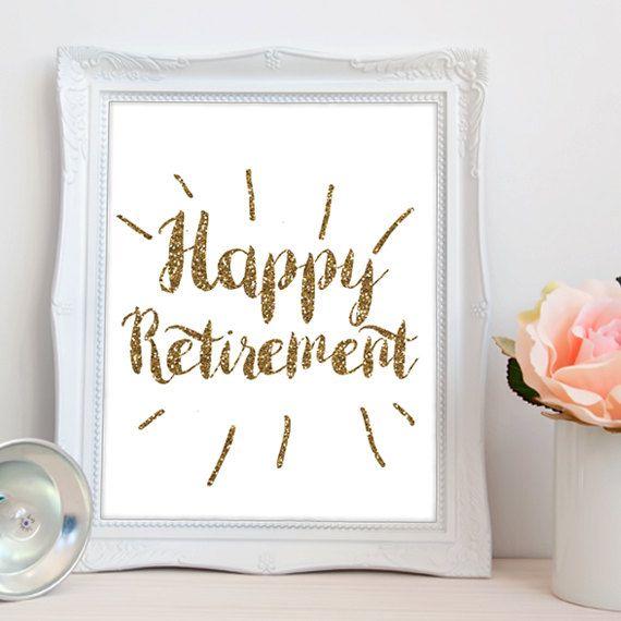 Gold Retirement PRINTABLE, happy retirement printable, retirement