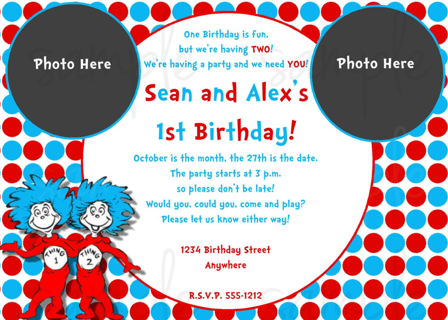 Dr Seuss Thing 1 Thing 2 Birthday Invitation. $12.50, via Etsy ...