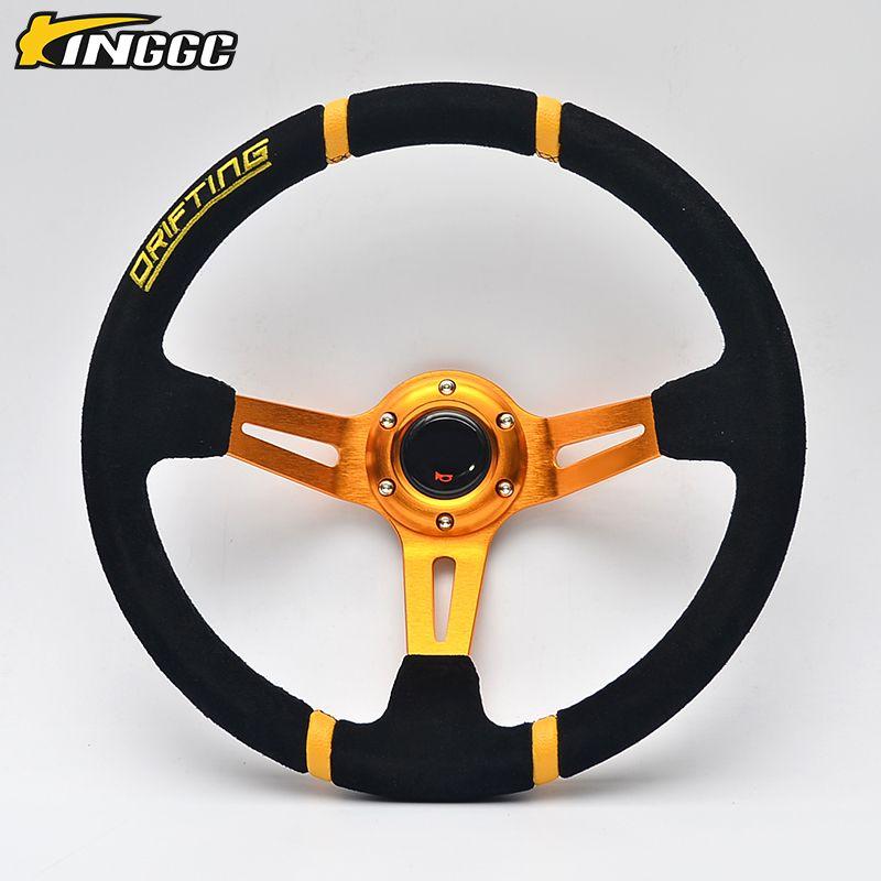 Car racing drift 350 mm suede steering wheel deep view