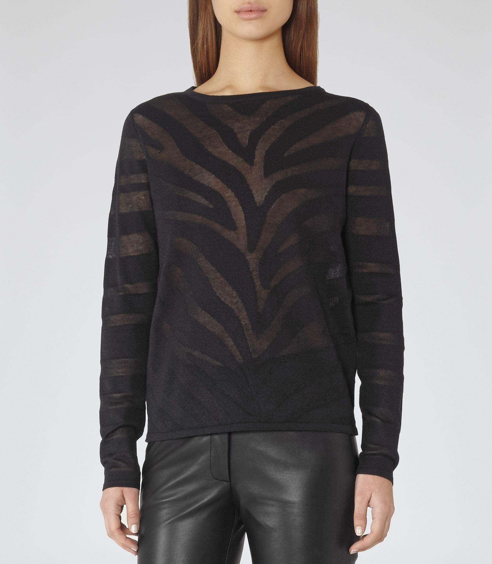 Womens Black Sheer-stripe Jumper - Reiss Maja