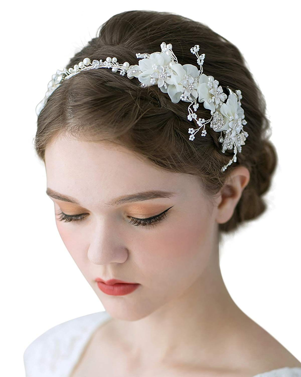 sweetv romantic flower headbands ivory wedding hair bands