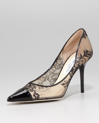 Alias Lace Pointed-Toe Pump, Black by Jimmy Choo at Neiman Marcus.