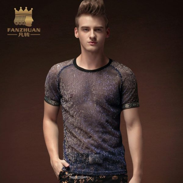 b21aa044105 FANZHUAN Featured Clothing Hot Men TShirtsTransparent Ultra Thin O Neck  Casual T-shirt Perspective installed