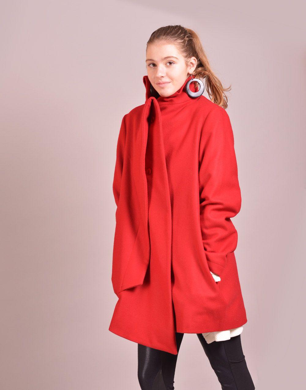 red coat, winter coat, women coat, wool coat, high collar coat