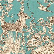 teal Kokka flower deer forest animal oxford fabric
