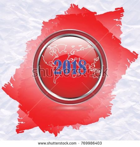Chrome icon with world map symbol of 2018 on white crumpled chrome icon with world map symbol of 2018 on white crumpled paper with red gumiabroncs Gallery