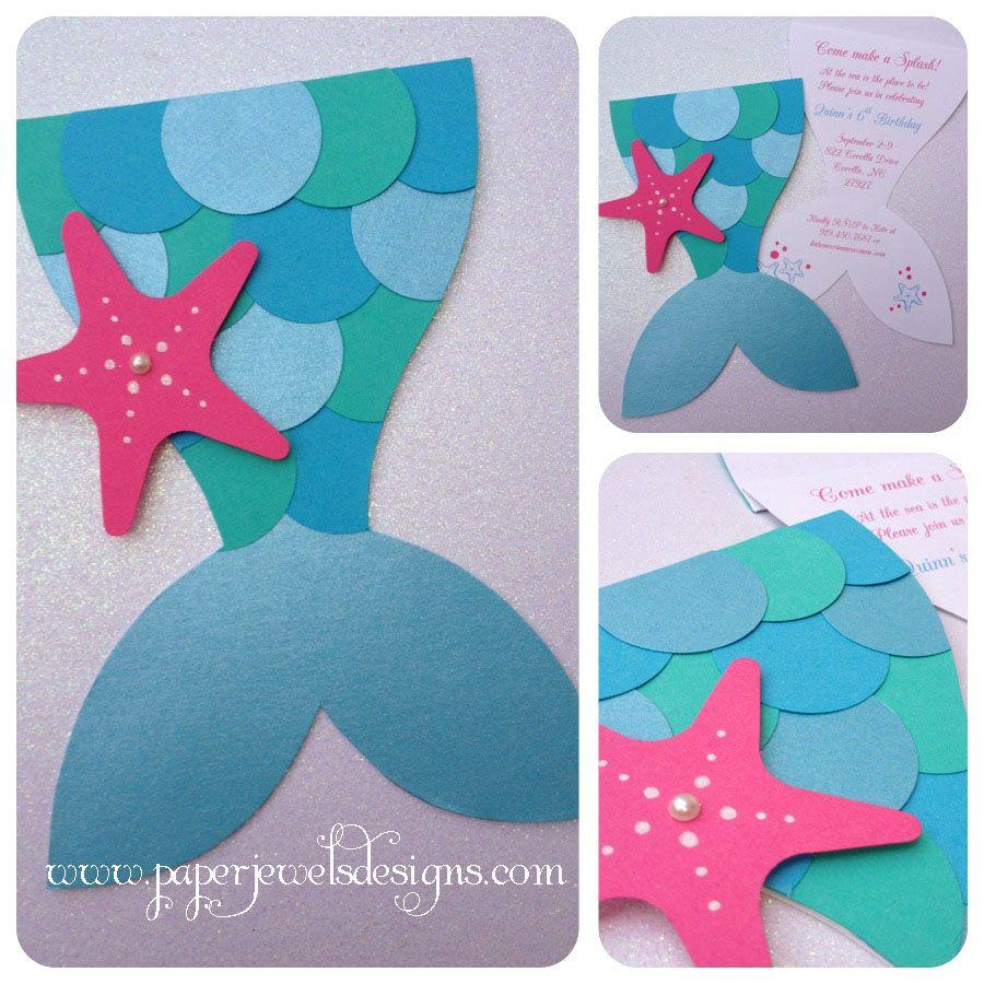 Mermaid Splash Invitations Www Paperjewelsdesigns Com