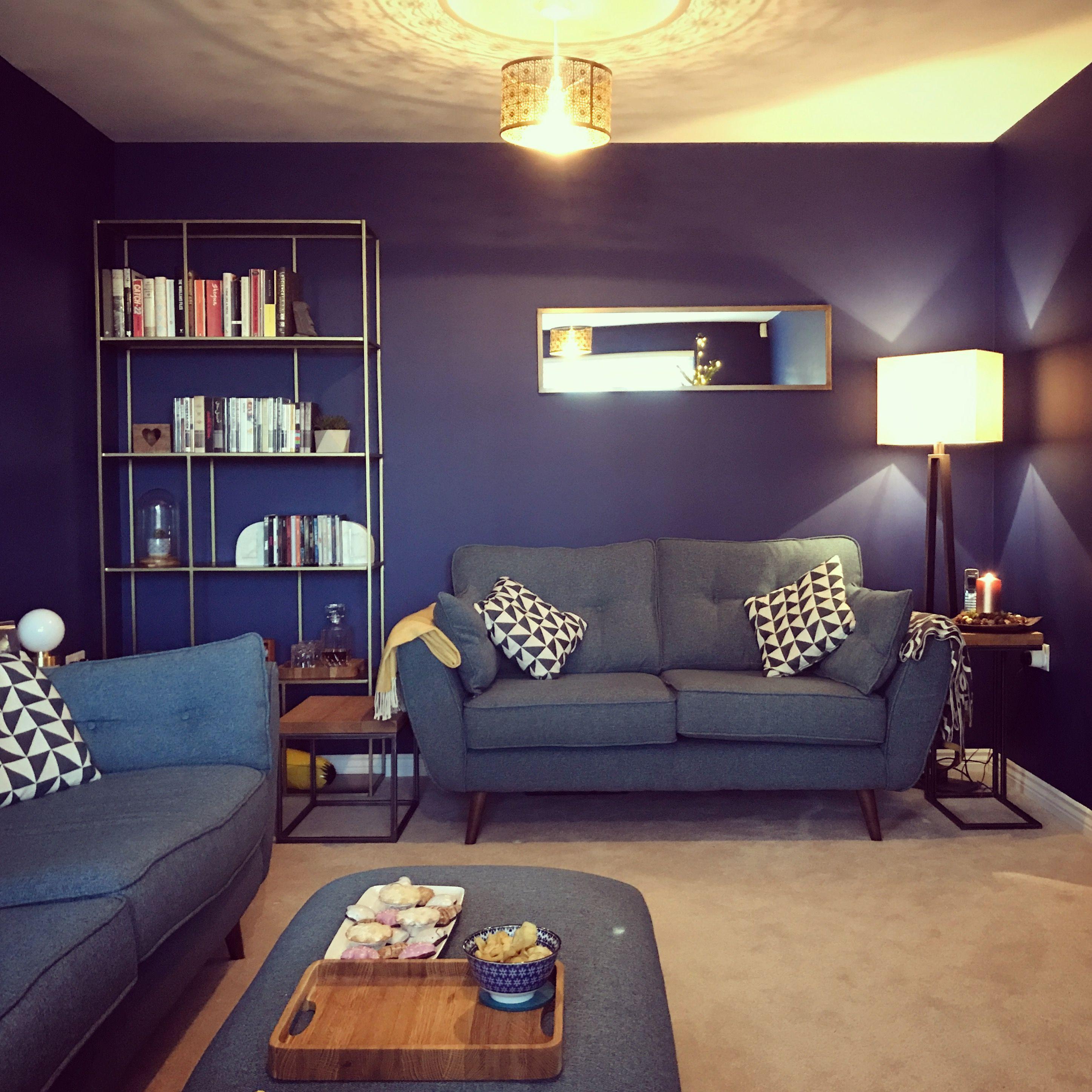 Dark Blue Living Room Zinc Sofa Teal Gold Accents Gold Li