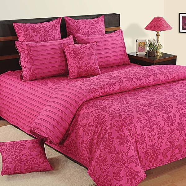 Magenta Motif Fitted Bed Sheet With, Raspberry Colored Bedding