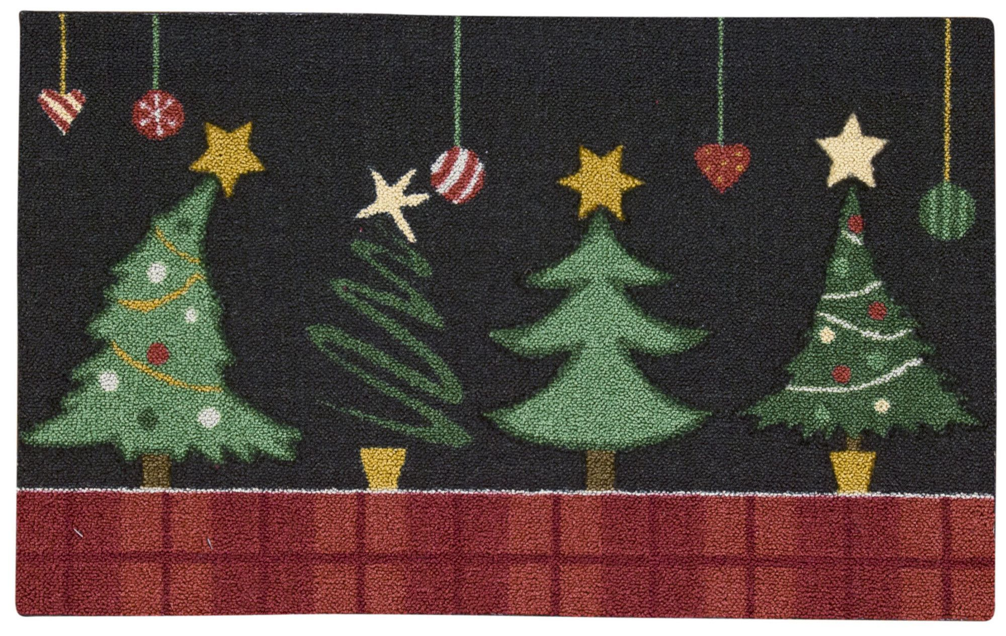 Charlton Home Hanson Christmas Tree Black Area Rug