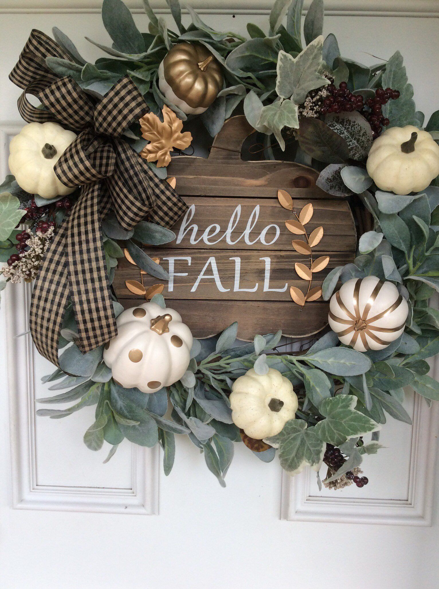 Hello fall, fall wreath, fall decor wreath, fall flowers, Thanksgiving wreath, lambs ear wreath, white pumpkin wreath, gold  white pumpkins #fallwreaths