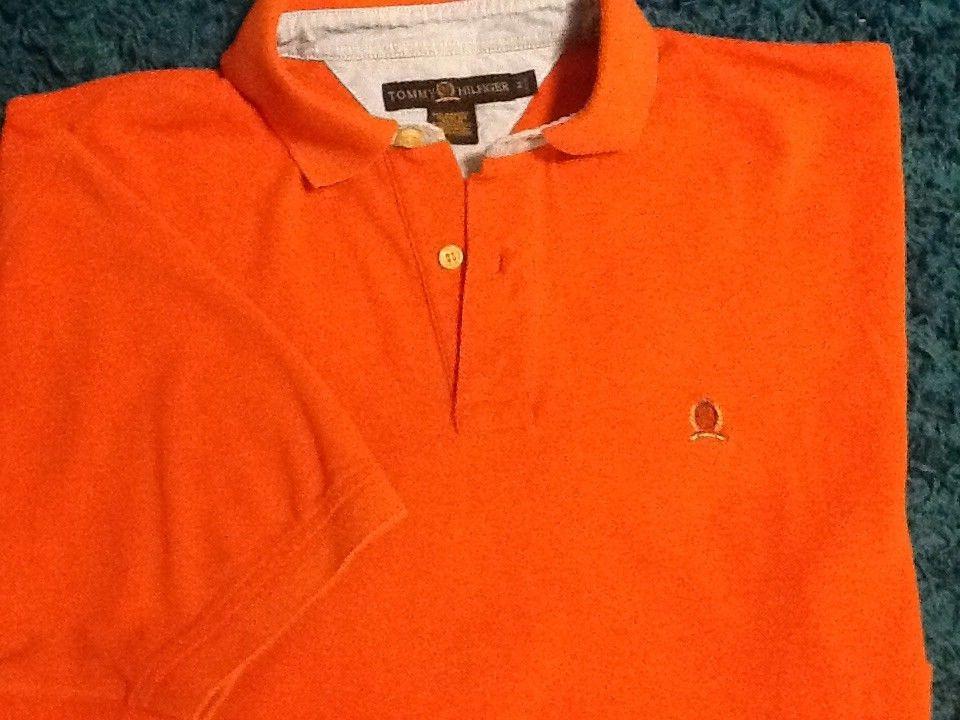 Vtg Tommy Hilfiger Polo Shirt Ss Lion Crest Logo 90s Vintage Orange