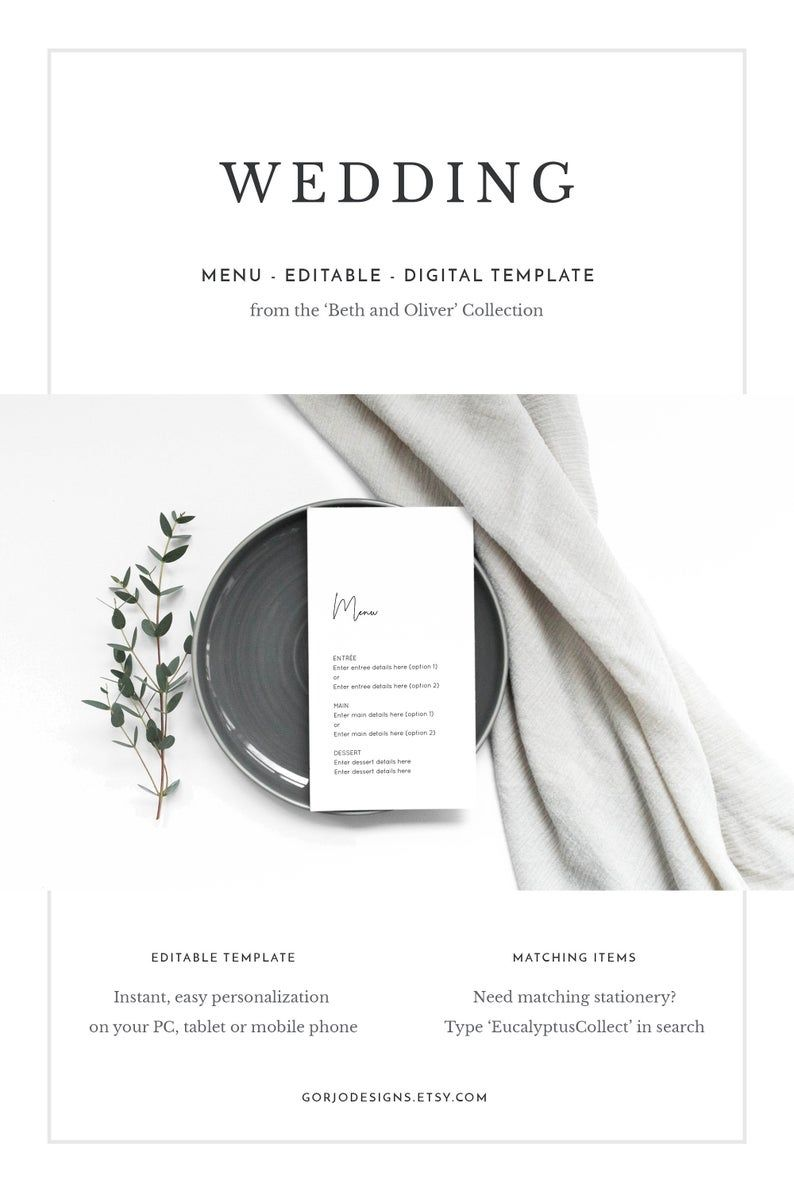 Wedding menu template download, wedding menu template modern, DIY menu, simple wedding menu, wedding menu with own wording, elegant wedding #weddingmenutemplate
