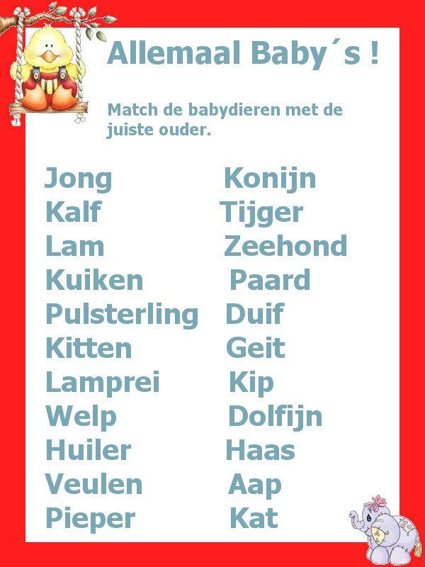 Genoeg Babyshower: raad de babydieren (antwoorden op de site klik in het &DV22
