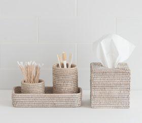 Sablon White Washed Rattan Bathroom Accessories Pfm10