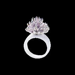 Ring mit Kleeblüte von Ehinger Schwarz 1876 aus Keramik und Silber