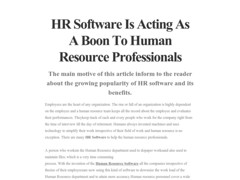 A good #SoftwareforHumanResources collects data of employees