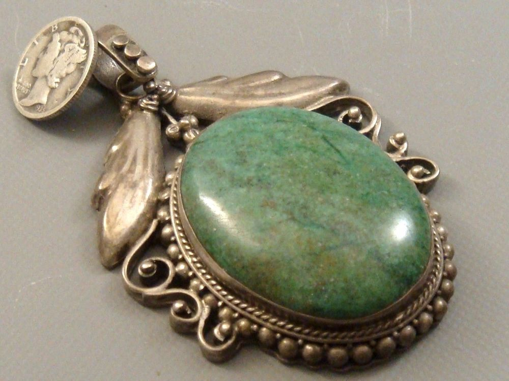 Huge 18 oz vintage 1960s navajo pawn sterling silver green huge 18 oz vintage 1960s navajo pawn sterling silver green turquoise pendant aloadofball Image collections