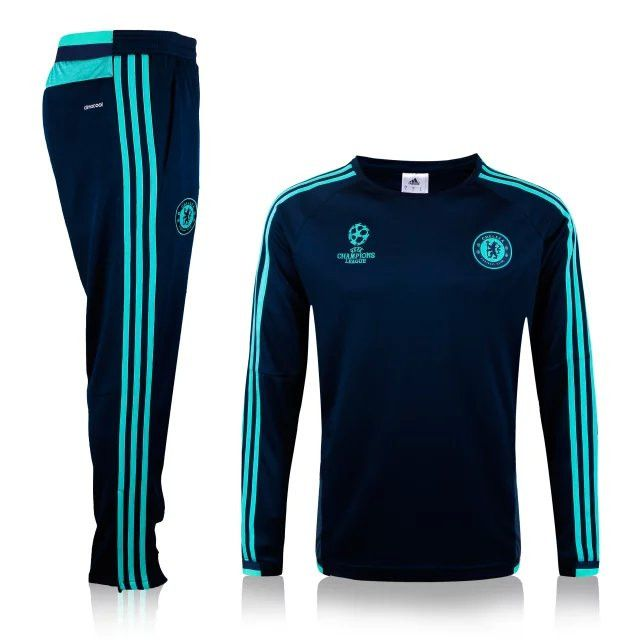 70781d7be372a boutique officiel Nouveau Champions league Survetement de foot Chelsea Noir  2015 2016 pas cher