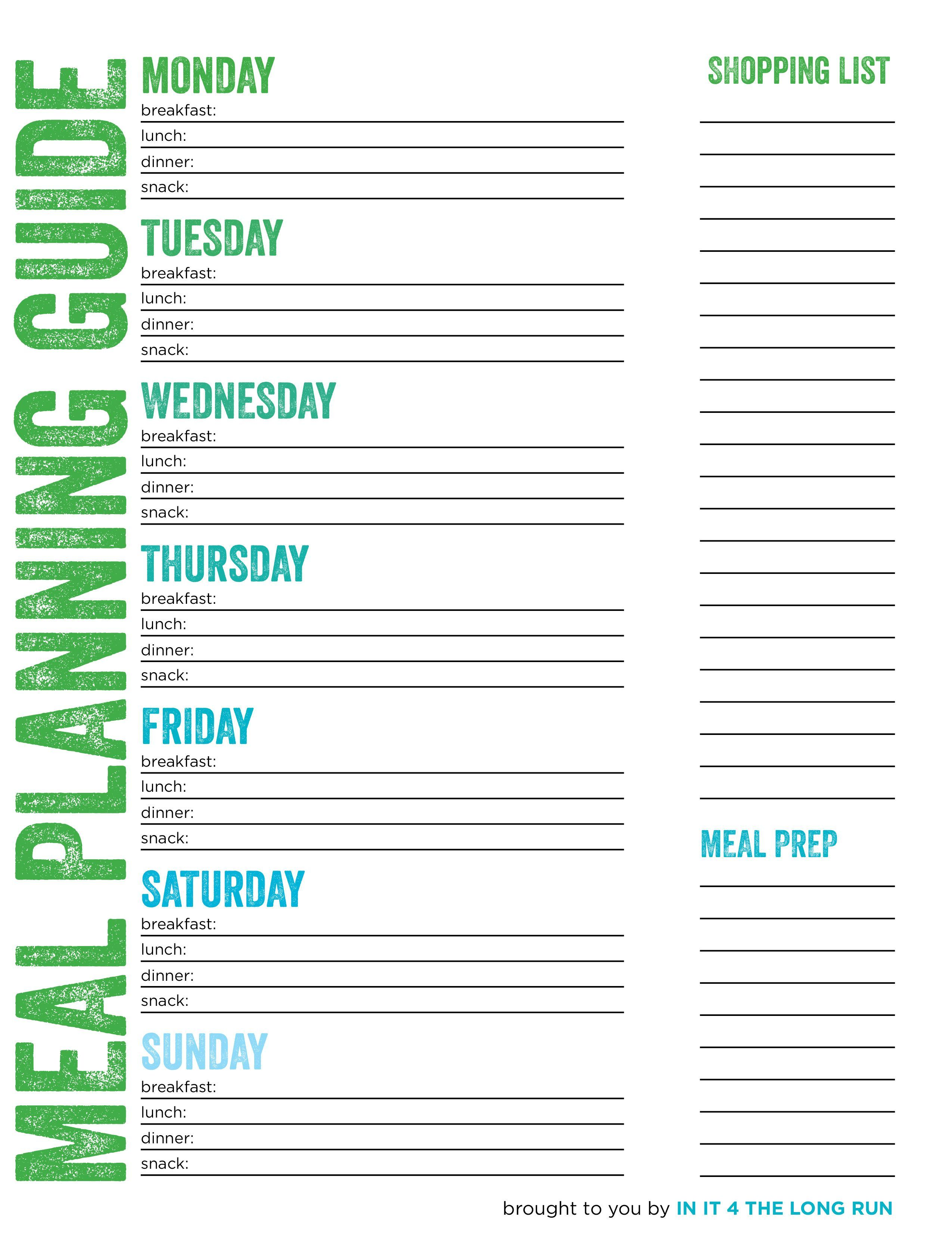 Image Result For Meal Prep Planner
