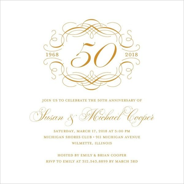 Thermography Anniversary Invitations Simply Template | ppp ...
