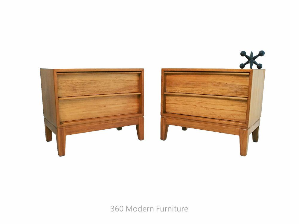 Mid Century Hayson Bedside Table X 2 Drawers Retro Vintage Blondewood Sideboard 360 Modern Furnit Vintage Industrial Furniture Industrial Furniture Furniture