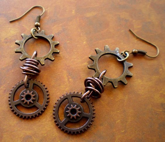 Items similar to Brass and Wheel Gear Steampunk earrings on Etsy