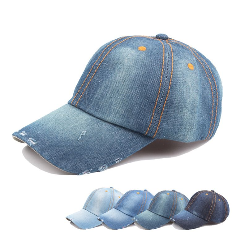 Wholesale cheap trendy plain cotton denim baseball caps distressed ... 17810f7fa02
