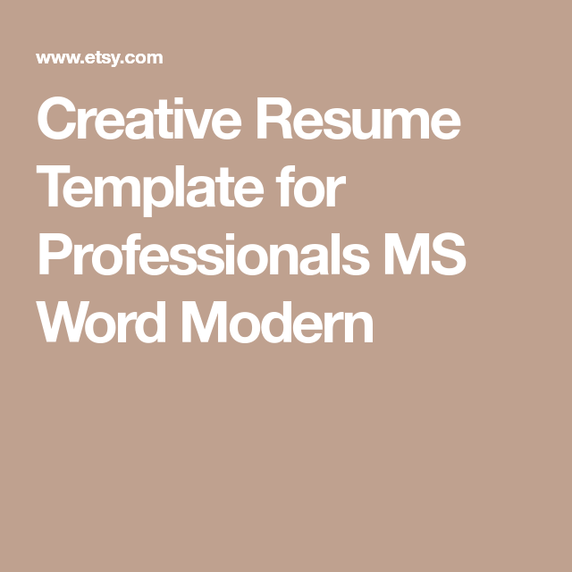 Creative Resume Template For Professionals Ms Word Modern