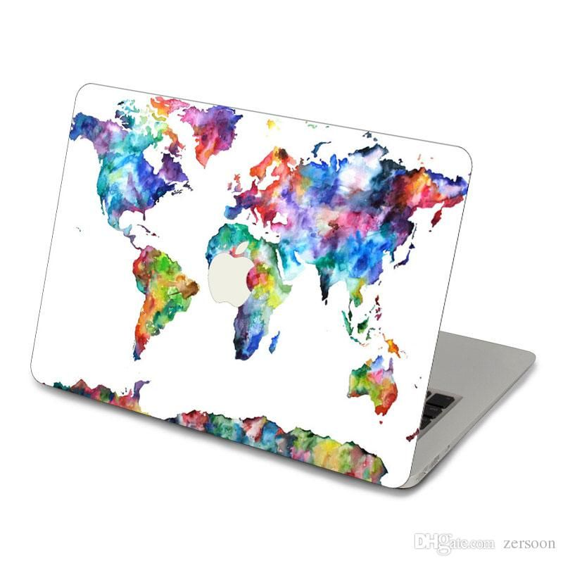2017 Watercolor World Maps Top Vinyl Front Cover Laptop Sticker