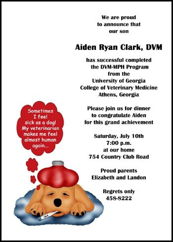 Veterinary Sick Dog Announcements Invitations For Graduation At Invitationsbyu Com Graduation Announcements Veterinary School Graduation Announcement Cards
