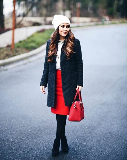 Simple and Cosy Outfit with a Pop of Red - 39 Cute Christmas Outfit Ideas StayGlam Fashion Pinterest Cute